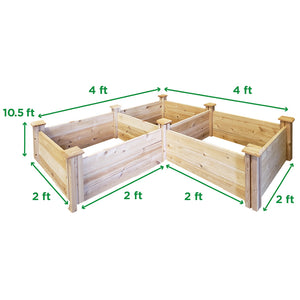 Cedar Raised Garden Bed 2 ft x 6 ft x 10.5 in RC268T Measurements
