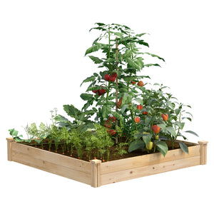 "Best Value Cedar Raised Garden Bed Planter 48"" W x 48"" L x 7"" H RCEC4C4"