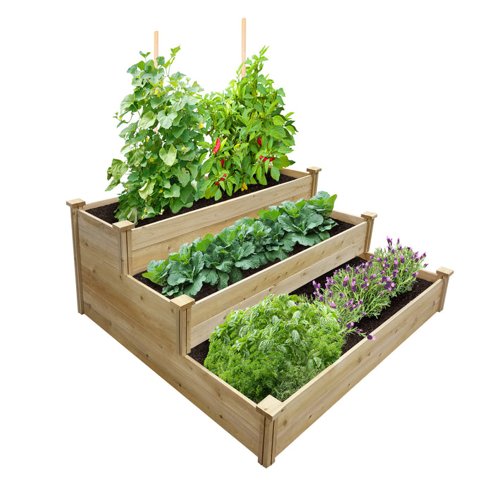 "Best Value 3-Tier Cedar Raised Garden Bed Planter 48"" W x 48"" L x 21"" H RCEC4T3"