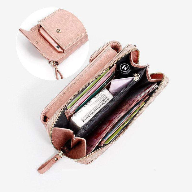 Women Long Clutch Bag Mobile Wallet Zipper Shoulder Messenger Bag
