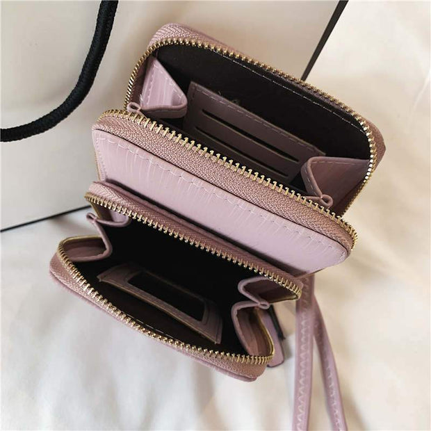 Solid Color Double-layer Phone Crossbody Bag