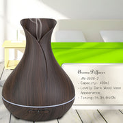 Essential Oil Diffuser, 400ml Wood Grain Aromatherapy Diffuser Ultrasonic Cool Mist Humidifier with Color LED Lights Changing and Waterless Auto Shut-off for Bedroom Office Home Baby Room Yoga