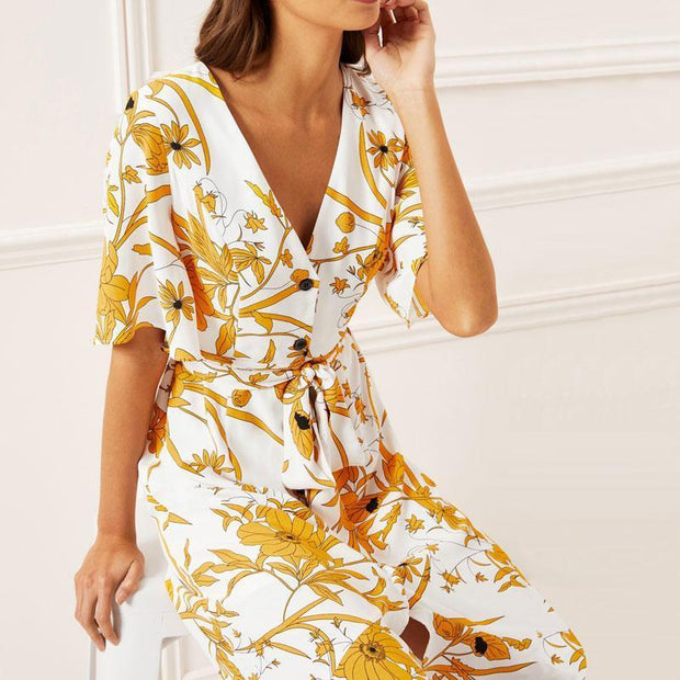 Boho Style Floral Print Summer Beach Women Dresses Sexy V-Neck High Slit Wrap Party Long Dress Casual Short Sleeve Ruffles Robe