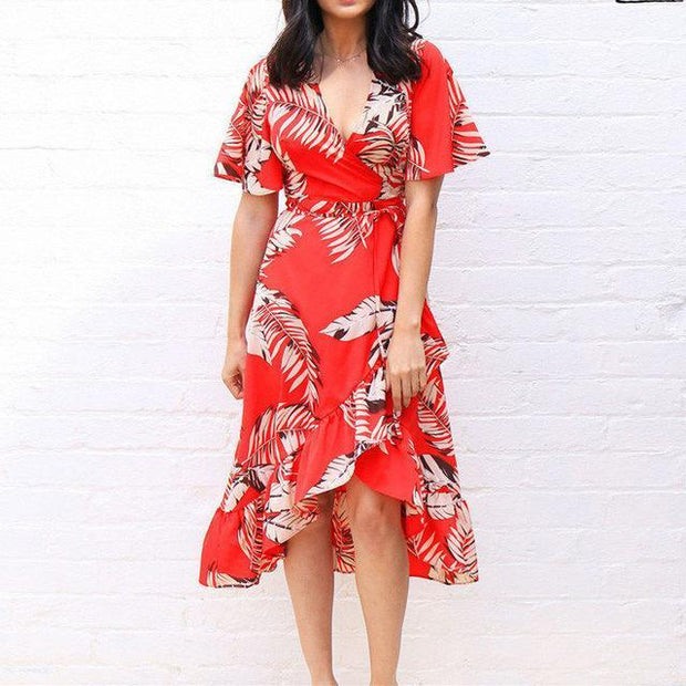 Floral Print Bohemian Beach Dress 2020 Summer Women Chiffon Dress Ruffles Casual Short Sleeve V-Neck Wrap Party Dresses Vestidos