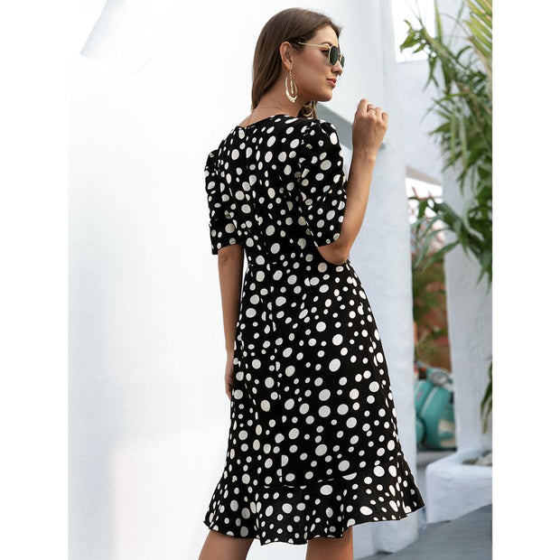 Summer Cross V-neck ruffled irregular hem dot print Dress  2020 vintage dress beach black and white Casual party Dress for Women