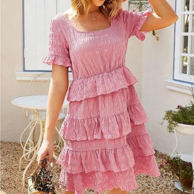 Summer Elegant beach robe mini Dress Women 2020 Ruffles Solid color layer cake party Dresses for women vestidos de fiesta dress