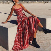 Vintage female striped Belt dress Summer red sleeveless sashes plus size beach dress Holiday long maxi dress for women 2019