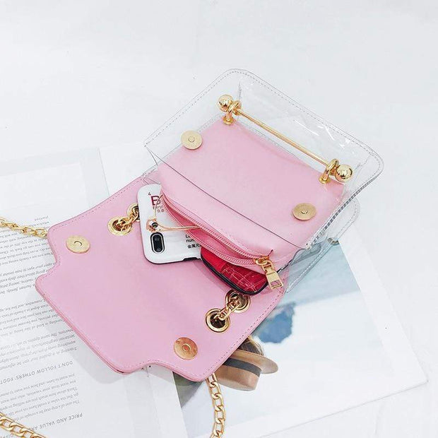 Women Small Clear PU  Shoulder Bag