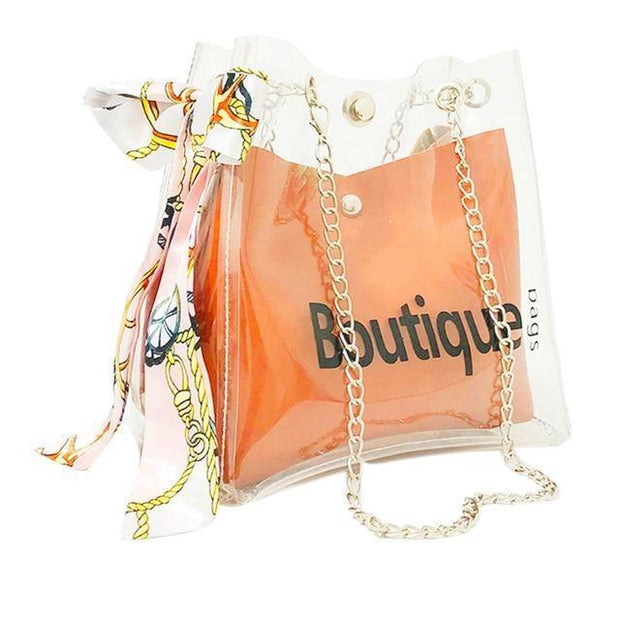 Women Small Clear Transparent Drawstring  Shoulder Bag