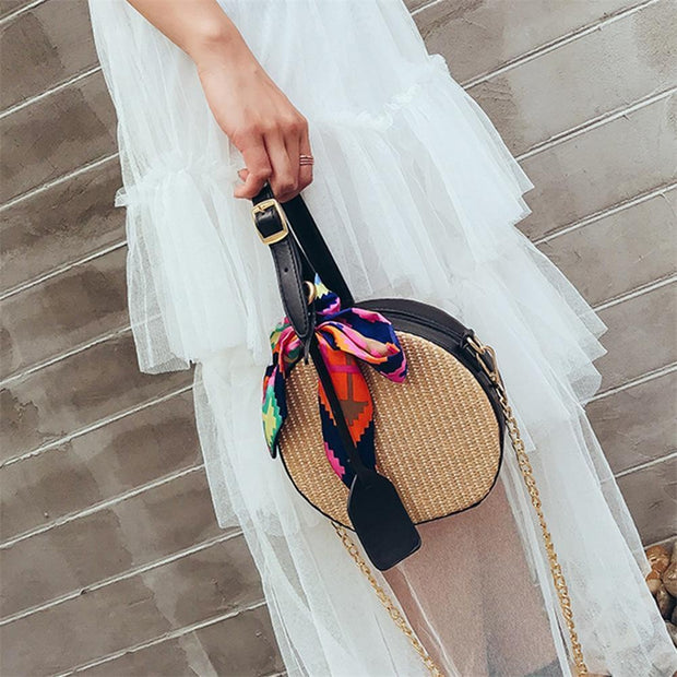 Women New Straw Small Round Handbag Shoulder Bags