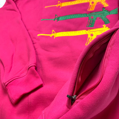 """Triplegun"" striped Crewneck Fuchsia"