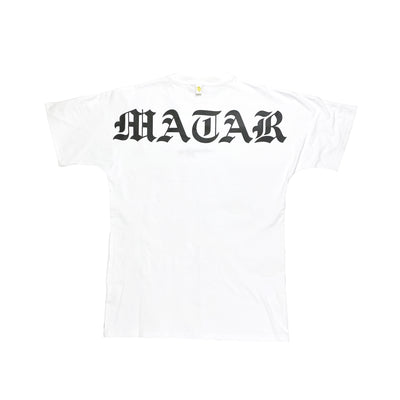 """Matar"" Big Logo Tall T white"