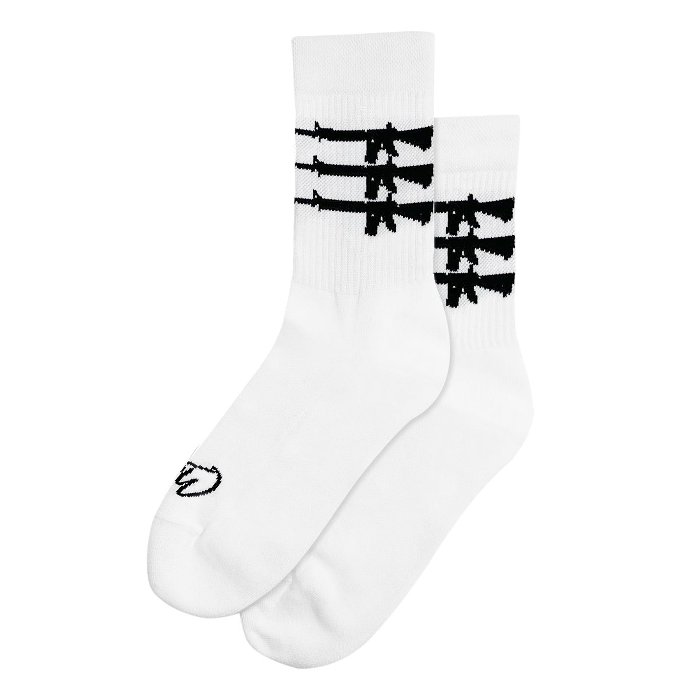"""Triplegun"" Socks - White"