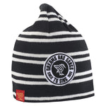 Badge striped beanie