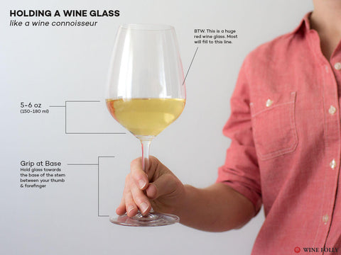 how to hold wine glass