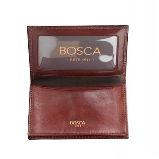 Bosca Old Leather Dark Brown Full Gusset, 2Pkt Card Case with ID-Pen Boutique Ltd
