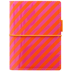 Filofax Domino Patent Orange/Pink Stripes Pocket Organizer