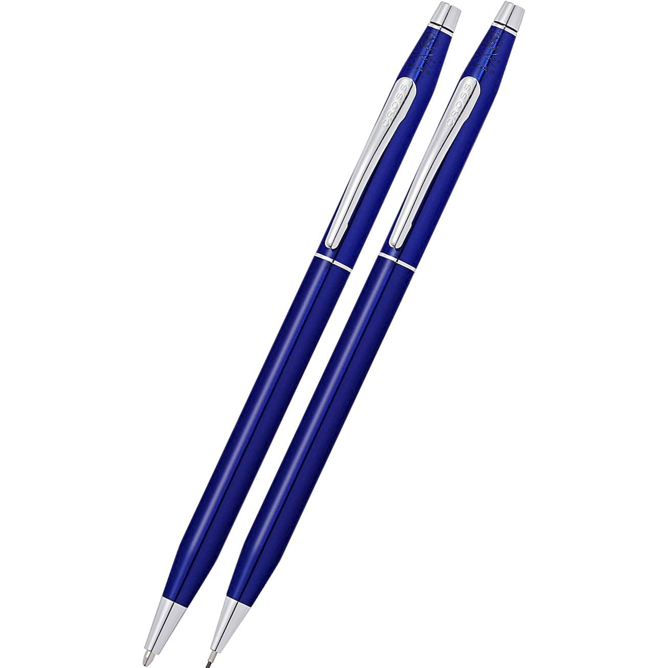 Cross Classic Century Translucent Blue Lacquer Ballpoint Pen and 0.7mm Pencil Set