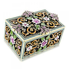 PBL Jewel Box with Pink Floral Design Made with Swarovski Crystals Gift Box-Pen Boutique Ltd