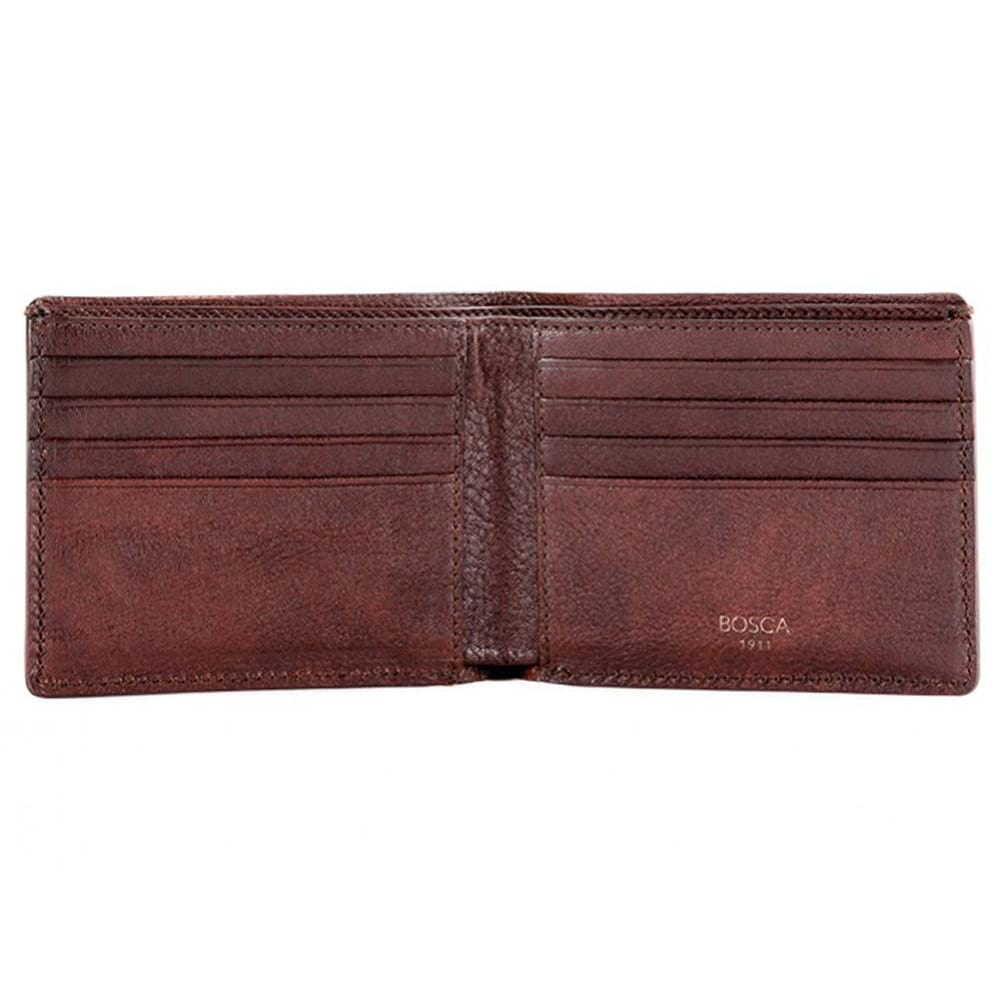 Bosca Old Leather Washed Dark Brown 8 Pocket Deluxe Executive Wallet