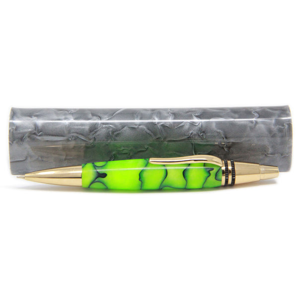 Pen Boutique Majestic Torpedo Click Green Gold Trim Ballpoint Pen With Assorted Carrying Case-Pen Boutique Ltd