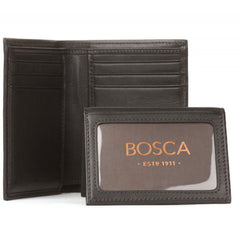 Bosca Nappa Vitello Black Slimfold Wallet with Passcase