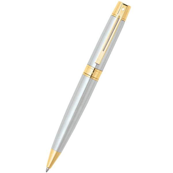 Sheaffer 300 Brushed Chrome w/ Gold Trim Ballpoint Pen-Pen Boutique Ltd