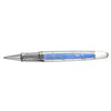 David Oscarson Trellis Azure Blue and White Rhodium Vermeil Rollerball Pen