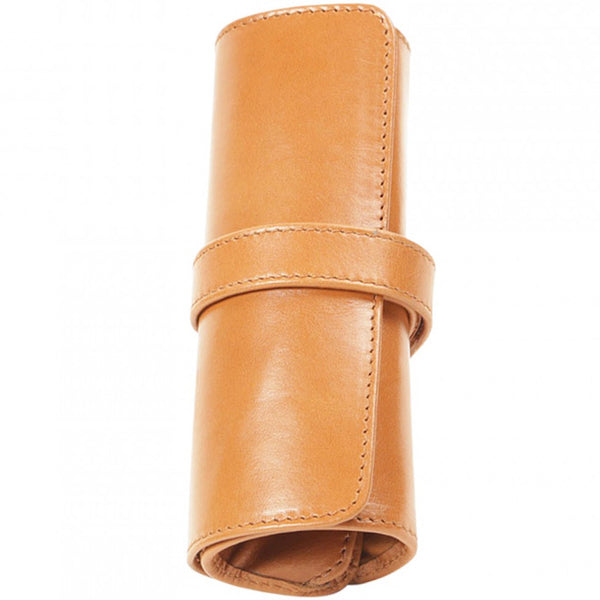 Aston Leather 5 Pen Roll Up Case - Tan