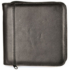 Aston Leather 6 Slot Zippered Pen Case Black