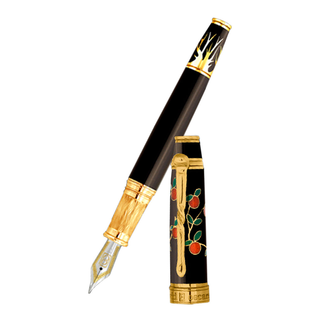 David Oscarson Tree of Life Fountain Pen - Black with Orange and Green-Pen Boutique Ltd