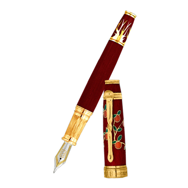 David Oscarson Tree of Life Fountain Pen - Red with Orange and Green-Pen Boutique Ltd