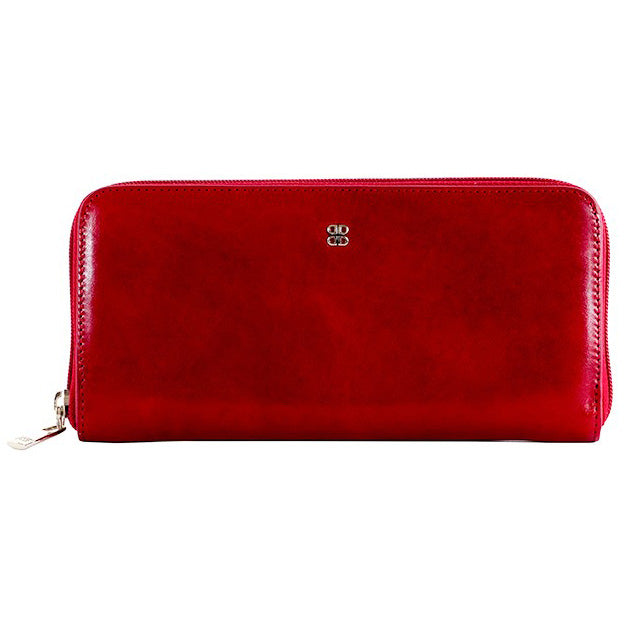 Bosca Old Leather Brick Red Zip Around Wallet
