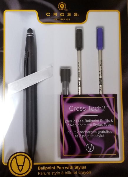 Cross Tech2 Satin Black Ballpoint Pen with Refills-Pen Boutique Ltd
