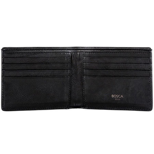 Bosca Old Leather Washed Black 8 Pocket Deluxe Executive Wallet