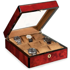 Venlo Triple Burlwood 9 Display Watch Holder