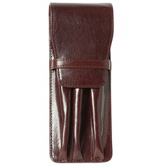 Aston Leather Brown Finger Style Triple Pen Case