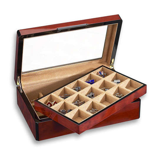 Venlo Triple Burlwood Thirty Cuffllinks Holder with Glass