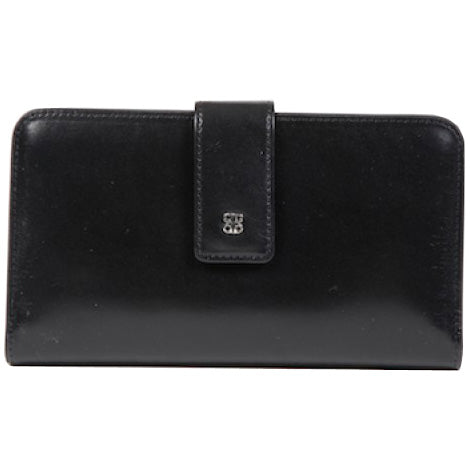Bosca Old Leather Black Checkbook Clutch