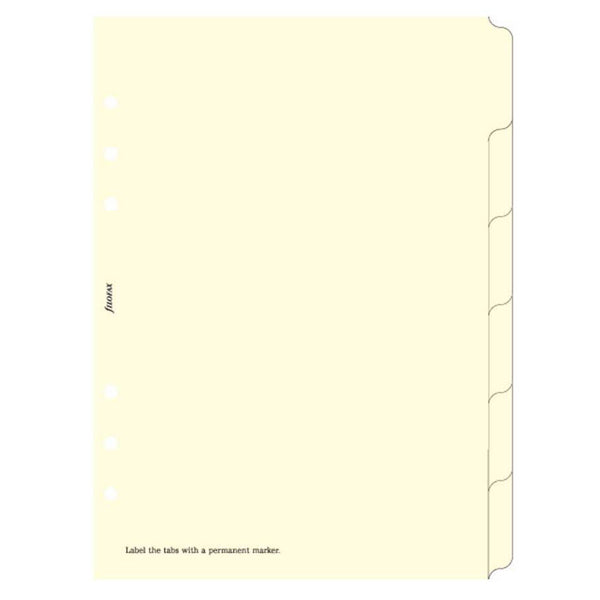 Filofax Cream A5 Blank Index 6 Tabs Refills-Pen Boutique Ltd
