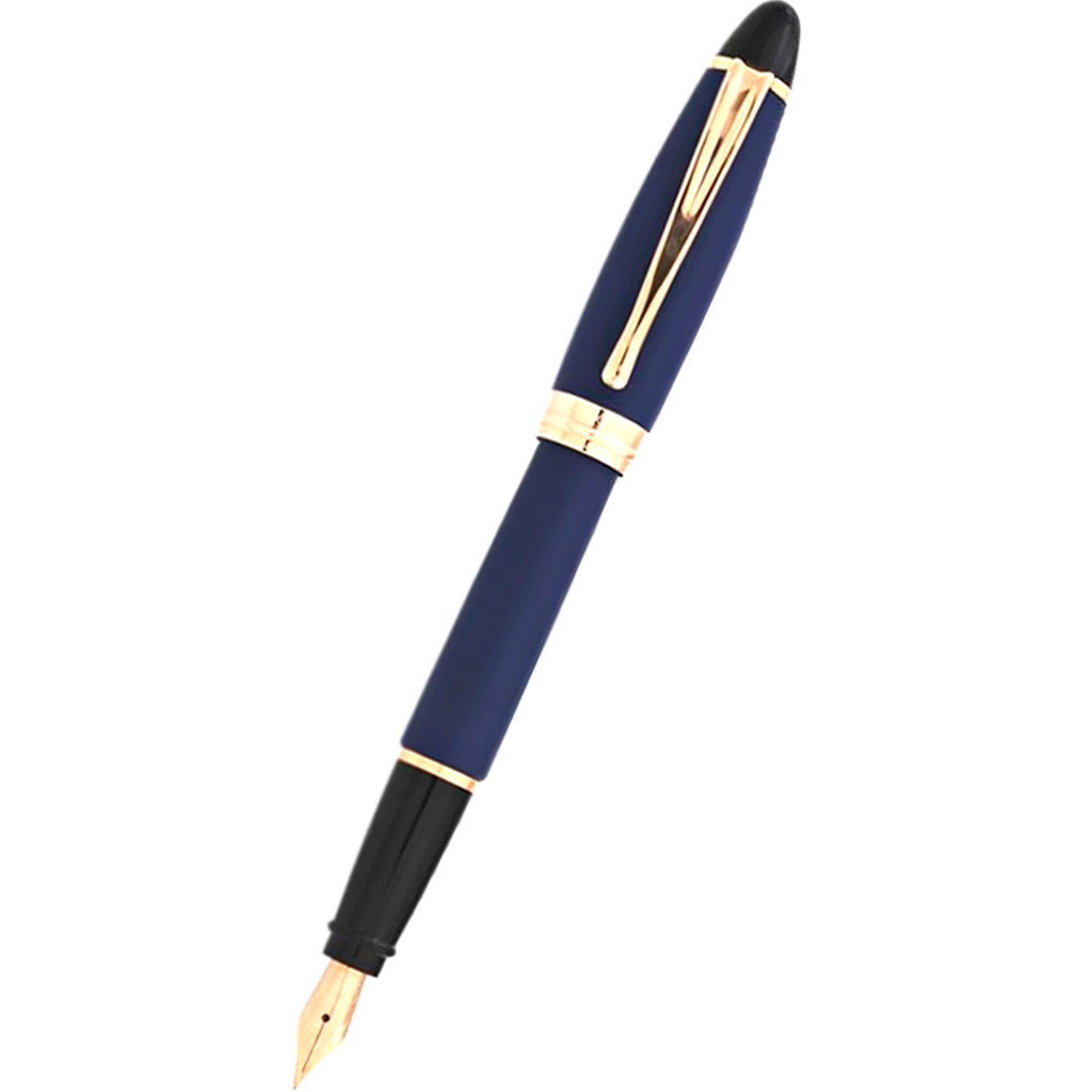 Aurora Ipsilon Fountain Pen - Satin Blue - Rose Gold Trim-Pen Boutique Ltd