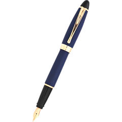 Aurora Ipsilon Fountain Pen - Satin Blue - Rose Gold Trim