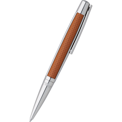 S T Dupont Defi Leather Ballpoint Pen - Palladium Trim - Brown-Pen Boutique Ltd