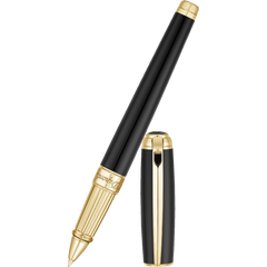 ST Dupont Line D Large Black with Gold Trim Rollerball Pen-Pen Boutique Ltd