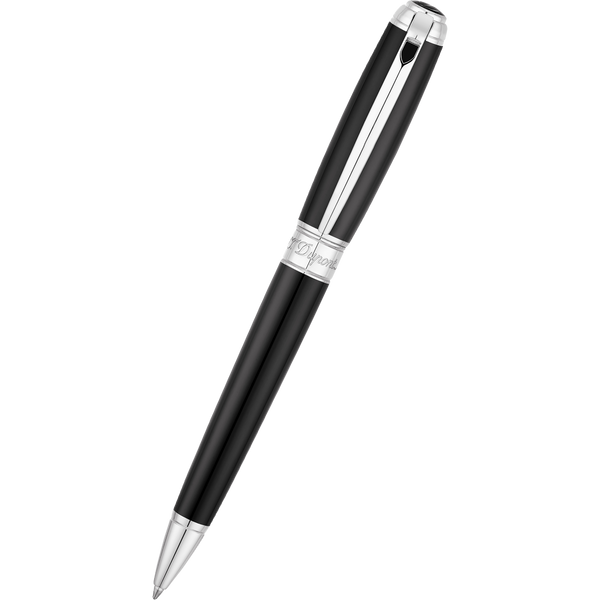 S T Dupont Line D Ballpoint Pen - Black - Chrome Trim-Pen Boutique Ltd