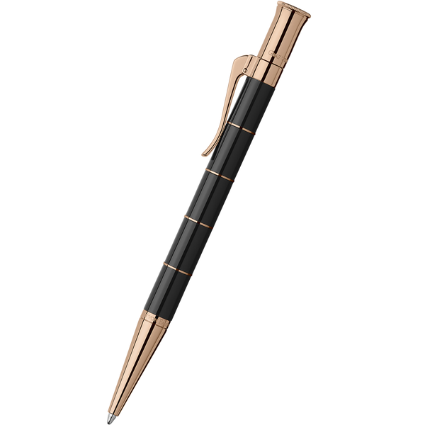 Graf von Faber-Castell Classic Anello Ballpoint Pen - Black with Rose Gold Trim-Pen Boutique Ltd