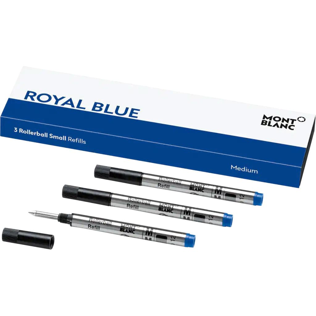 Montblanc Rollerball Pen Refill - Royal Blue - Small Medium (3 Per Pack)-Pen Boutique Ltd