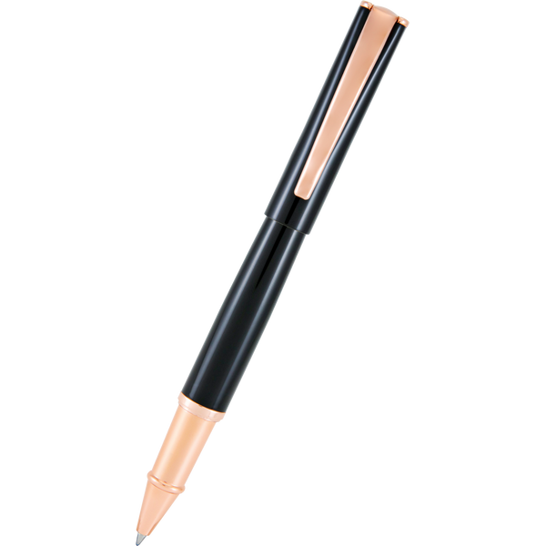 Monteverde Impressa Black with Rose Gold Trim Rollerball Pen-Pen Boutique Ltd