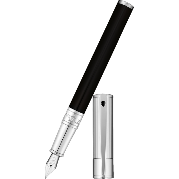 S T Dupont D-Initial Fountain Pen - Chrome Trim - Noir-Pen Boutique Ltd