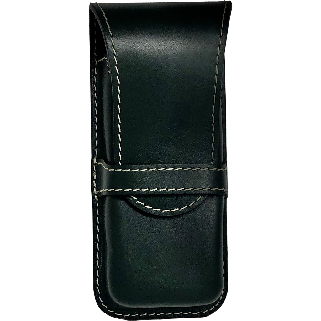 Yak Leather Triple Pen Holder - Green/black-Pen Boutique Ltd